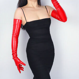 """TECH LONG GLOVES Faux Leather PU 28"""" 70cm Evening Hot Shine Red Patent Leather"""