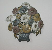 Vintage Hand Painted Tole Wall Art Metal Floral Bouquet With Hooks