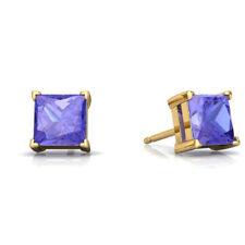 2 Ct Tanzanite Princess Cut Stud Earrings 14Kt Yellow Gold