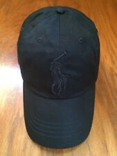 NWT POLO RALPH LAUREN BLACK CHINO BIG PONY 6 PANEL SPORT HAT COTTON TWILL CAP