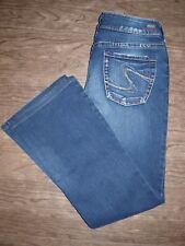 Silver Jeans Suki Size 30 Womens Mid-Rise Bootcut Jeans with Distressing
