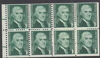 UNITED STATES BKT PANE:1967 1c green dull gum horiz bars SCOTT #1278a  n.h. mint