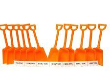 "24 Orange Toy Sand Shovels & ""I Dig You"" Stickers Mfg USA Lead Free"