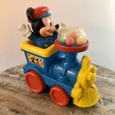 Vintage Disney Mickey Mouse Poppin' Sounds Train Pull Along Toy  Bubblegum -JJ