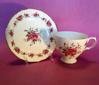 Queen Anne Pedestal TeaCup And Saucer - Pink Roses & Blue Star Flowers - England