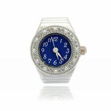 Finger Ring Ring Watch Bezel Quartz Arabic Numeral Silver blue NEW SS