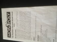 Monopoly Rules Booklet. Genuine Hasbro Part.