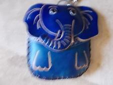 dulzura Monedero De Cuero Cartera De Cuero Monedero Llavero elefante azul NUEVO