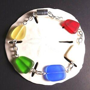 "Cultured Sea glass jewelry primary color handmade 8"" bracelet rainbow colors"
