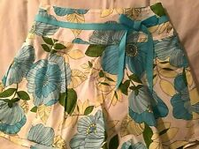 XHILARATION Girl's Skort / Skirt Jumbo Blue & Yellow Flowers Blue Bow Sz XL NWOT