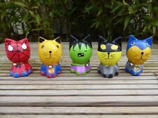 Wooden Carved And Painted Set Of Five Super Hero Cats.....