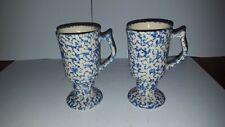2 BTC POTTERY USA FOOTED BLUE SPONGEWARE COFFEE MUGS CUPS