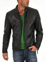 New Men's Motorcycle Biker Style Genuine Lambskin Leather Jacket Coat NF-2