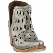 "Ariat Dixon Studded Snip Toe   Womens  Booties Casual  Mid Heel 2-3"" - Silver -"