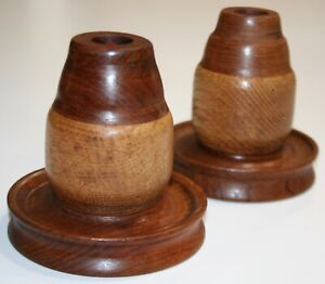 Pair of Handmade Wooden Taper Candle Holders - Excellent Condition
