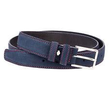 """Blue Suede Leather Belt Red Mens belts 100% Italian leather Nubuck Dress W34"""""""