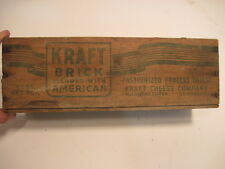 1-G OLD VINTAGE WOOD-WOODEN KRAFT BRICK BLENDED AMERICAN CHEESE DAIRY BOX CRATE