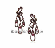 Silver 925% Ruby Victorian New Earrings Unique 3.50ct Antique Rose Cut Diamond &
