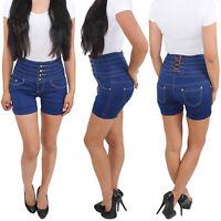 Damen High Waist Shorts Hochschnitt Capri Hot Pants kurze Hose Hochbund Jeans