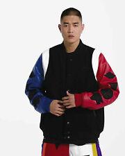 Nike Jordan Sport DNA Varsity Jacket M Leather Wool Bomber Black Red Blue New
