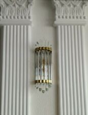 Antique Vintage Old Art Deco Brass & Glass Rod Ship Light Wall Sconces Lamp