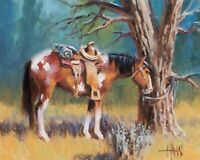 "TOM HAAS (b.1952) 'Hassayampa' oil 8""x10"" Western ranching Wickenburg Arizona"