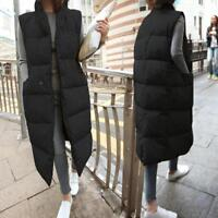 New Women's Down cotton Quilted Puffer Student Coat Jacket long Vest Sleeveless