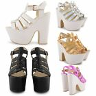 NEW LADIES SEXY PARTY SHOES PLATFORM PEEP TOE BUCKLE HIGH HEEL CHUNKY SANDALS UK