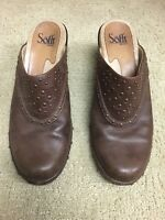 Sofft Women's Brown Comfort Leather Slip on Studded Clogs Mules Shoes Size 7