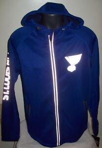 ST. LOUIS BLUES NHL Soft Shell Jacket BLUE w/ Reflective Logos: MED LG 2X