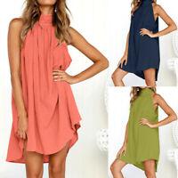 Womens Holiday Irregular Halter Dress Ladies Summer Beach Sleeveless Party Dress