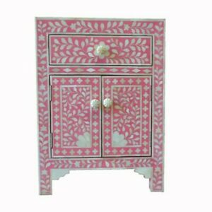 Bone Inlay Bedside cabinet Lamp table Pink Floral (MADE TO ORDER)
