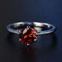 Damen Ring Echt Silber 925 7*7mm Rubin Edelstein 8 Farben Damenring Geschenk Neu
