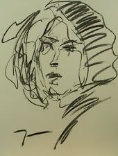 JOSE TRUJILLO EXPRESSIONISM ORIGINAL CHARCOAL DRAWING Portrait MODERN ARTWORK