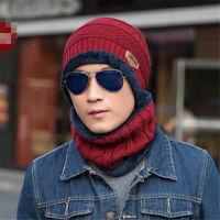 Fashion Beanie Hat & Scarf Fluffy Stretch Fit Cotton Velvet Winter Mufflers Men