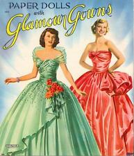 VINTAGE UNCUT 1954 GLAMOUR GOWNS PAPER DOLLS HD LASER REPRODUCTION~LO PR~HI QU