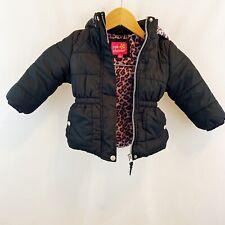 Toddler Girls Puffer Black Zippered Jacket Coat Pink Leopard Sz 3T