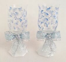 2 Pedestal Pillar Candle Holders Silver And Blue