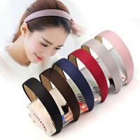 Women Girls Cute Solid Color Headwear Headband Hair Band Plastic Cloth Hair Hoop