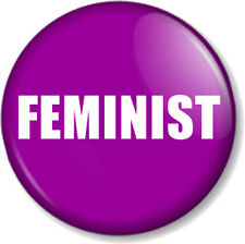 "FEMINIST 1"" Pin Button Badge Feminism Women's Rights Equality Activist - Purple"