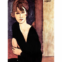 Amedeo Modigliani Portrait Madame Reynouard Old Art Painting Canvas Print