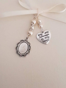 """Wedding Bouquet Photo Charm Oval silver Locket with """"always"""" charm Ivory Pearls"""