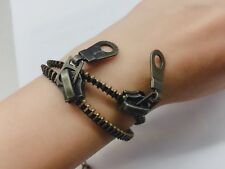 Handmade golden tone antiqued Zipper Bracelet
