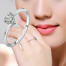 925 Sterling Silver Plated Engagement Proposal Romantic Heart CZ Crystal Ring