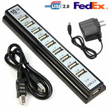 10 Port High Speed USB 2.0 Ports Hub Power Adapter for PC Laptop Computer Data