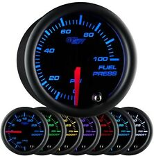 52mm GlowShift Black 7 Color 100 PSI Fuel Pressure Gauge - GS-C711