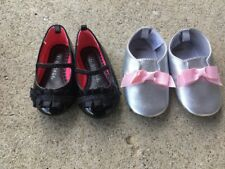 Set of 2 Baby Girl's Shoes Size 3 Black  Dress Shoes Gymboree 4 Silver Slippers