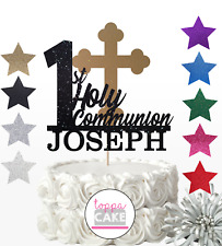 Personalised Gold Glitter Toppers First Holy Communion Cake Topper 1st