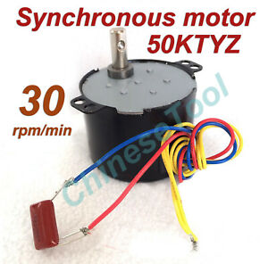 Synchronous Motor 50KTYZ AC 110V 120V 50/60Hz 50/60Hz 30r/m CW/CCW 6W 2.8kgf.cm