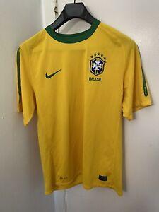 Nike Dri Fit Brasil Soccer Football Jersey Men's Size Medium Yellow Home Jersey